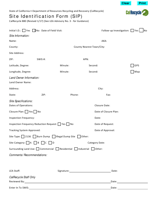 Form CalRecycle880  Printable Pdf