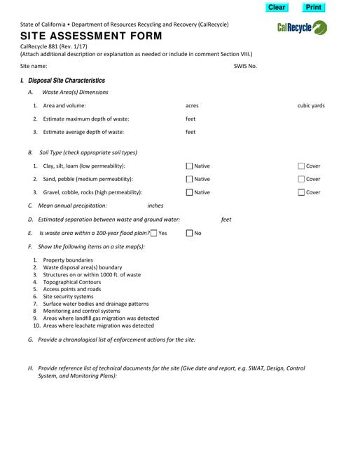 Form CalRecycle881  Printable Pdf