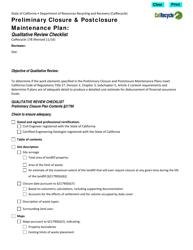"""Form CalRecycle178 """"Preliminary Closure Plan Qualitative Review Checklist"""" - California"""