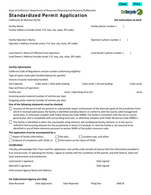 Form CalRecycle92  Printable Pdf