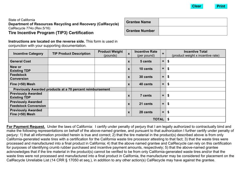 Form CalRecycle774O  Printable Pdf