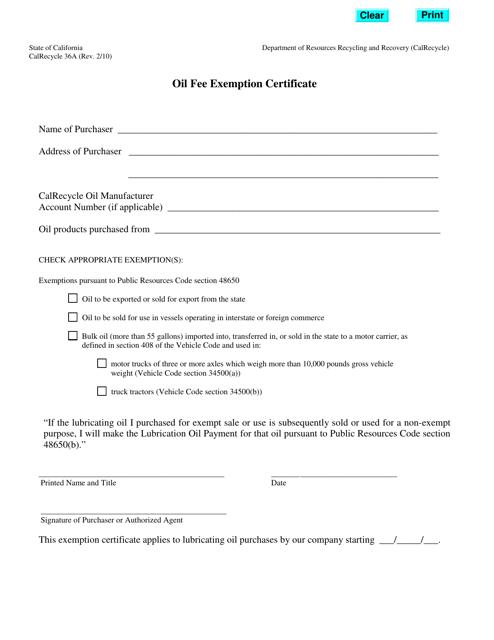 Form CalRecycle36A  Printable Pdf