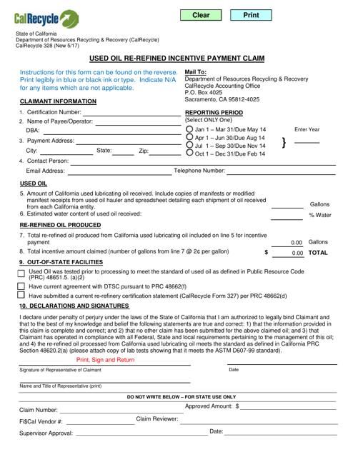 Form CalRecycle328  Printable Pdf