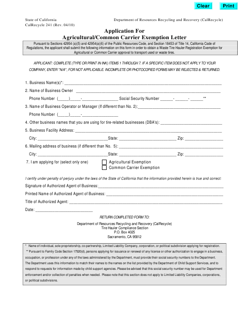 Form CalRecycle241  Printable Pdf