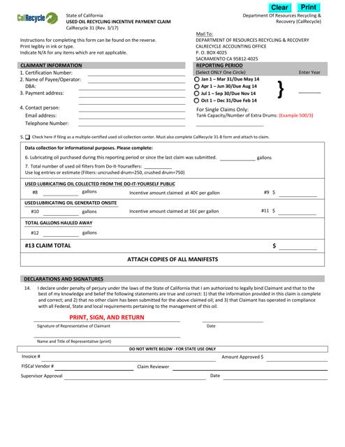 Form CalRecycle31  Printable Pdf