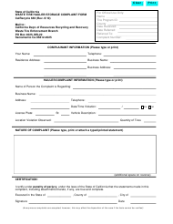 """Form CalRecycle683 """"Waste Tire Hauler/Storage Complaint Form"""" - California"""