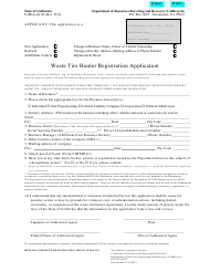 "Form CalRecycle60 ""Waste Tire Hauler Registration Application"" - California"