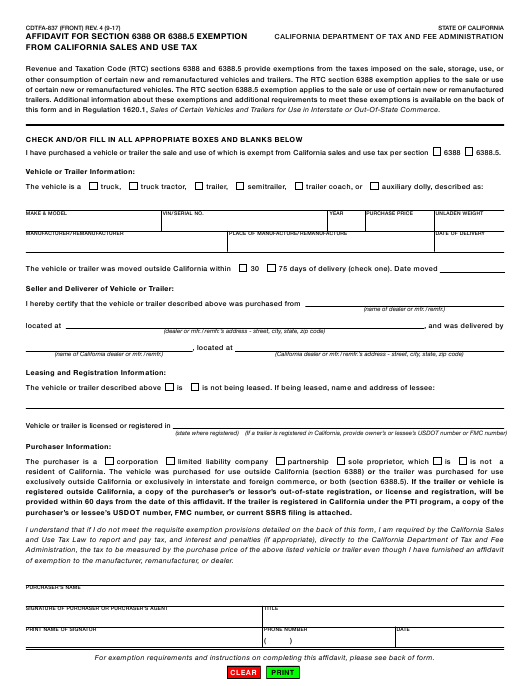 Form CDTFA-837  Printable Pdf