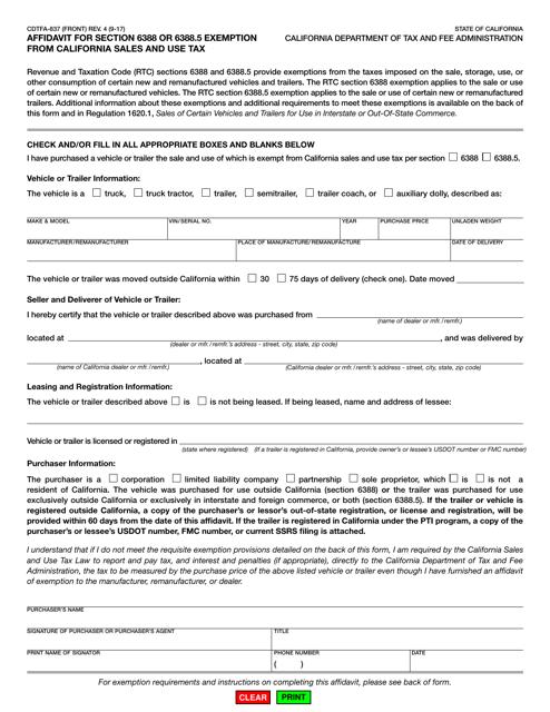 Form CDTFA-837 Download Fillable PDF, Affidavit for Section