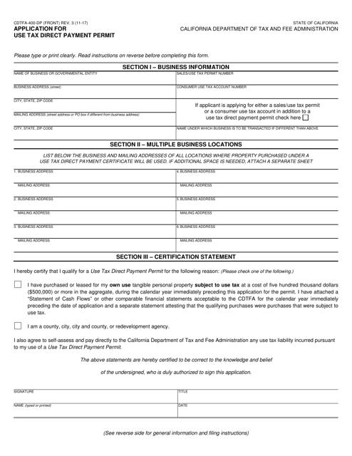 Form CDTFA-400-DP Fillable Pdf