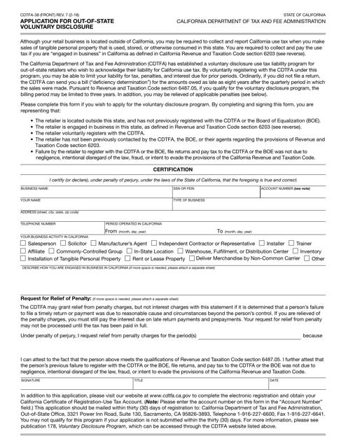 Form CDTFA-38 Fillable Pdf
