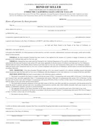 "Form CDTFA-445 ""Bond of Seller"" - California"