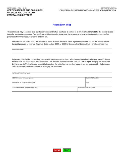 Form CDTFA-230-C-1  Printable Pdf
