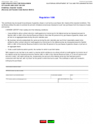 """Form CDTFA-230-D-1 """"Certificate for the Exclusion of Sales and Use Tax on Federal Excise Taxes"""" - California"""