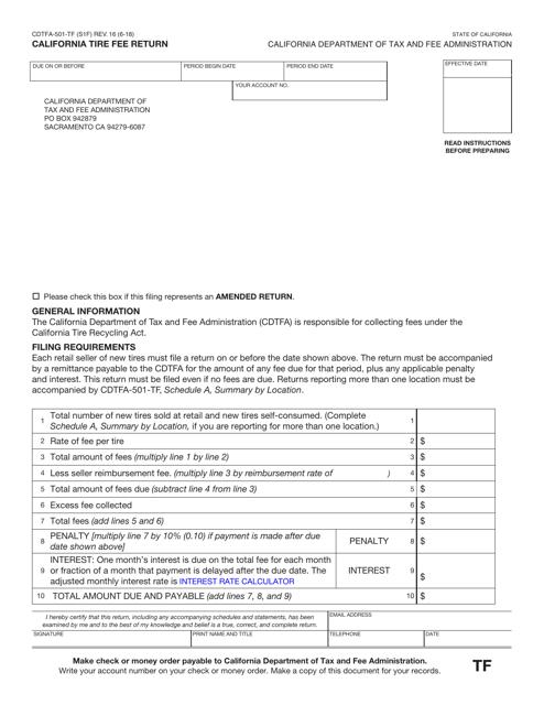 Form CDTFA-501-TF  Printable Pdf