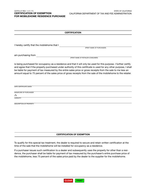 Form CDTFA-47  Printable Pdf