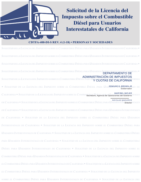 Formulario CDTFA-400-DI-S  Printable Pdf