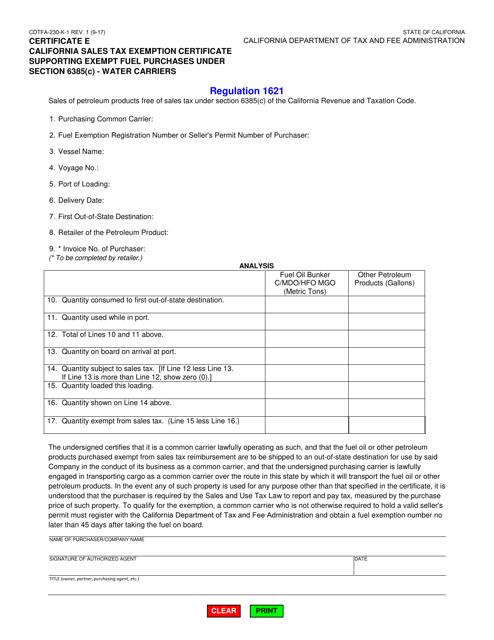 Form CDTFA-230-K-1  Printable Pdf
