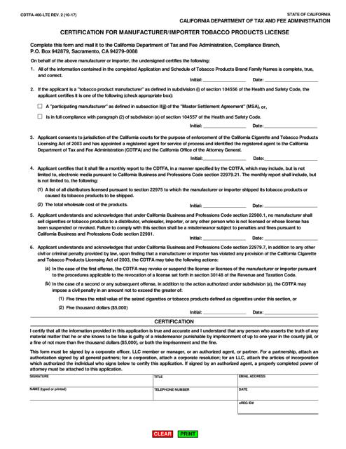 Form CDTFA-400-LTE  Printable Pdf