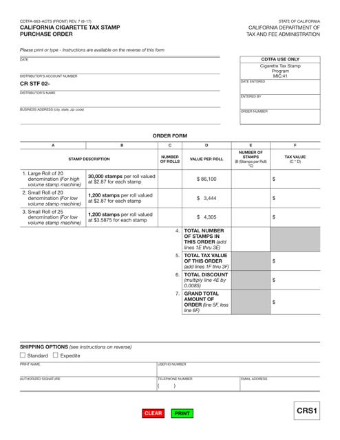 Form CDTFA-663-ACTS  Printable Pdf