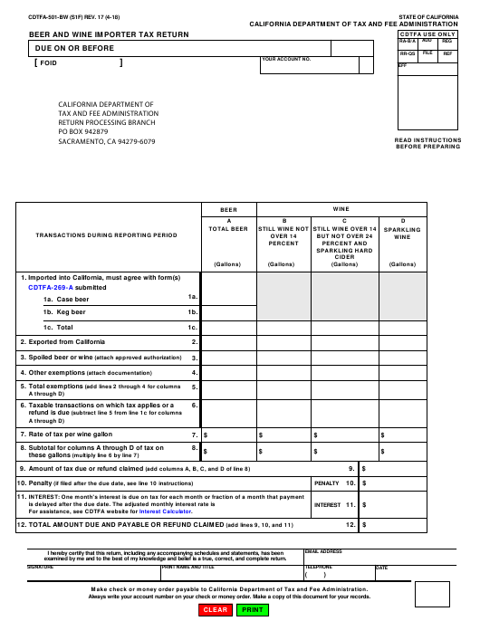 Form CDTFA-501-BW  Printable Pdf