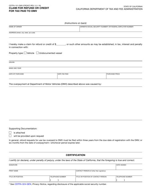 Form CDTFA-101-DMV  Printable Pdf