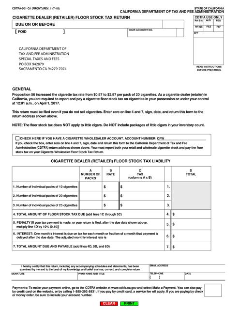Form CDTFA-501-Q1  Printable Pdf