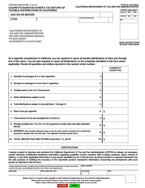 Form CDTFA-501-CM  Printable Pdf