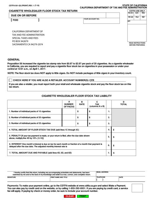 Form CDTFA-501-Q2  Printable Pdf