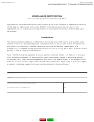"Form CDTFA-443 ""Compliance Certification"" - California"