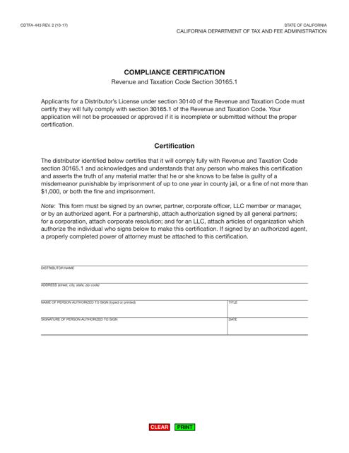 Form CDTFA-443  Printable Pdf