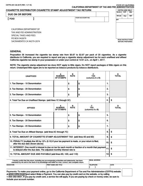 Form CDTFA-501-Q3  Printable Pdf