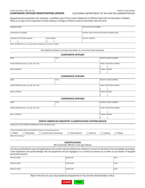 Form CDTFA-245-COR-1  Printable Pdf