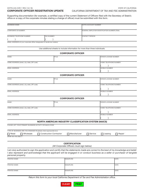 Form CDTFA-245-COR-1 Fillable Pdf