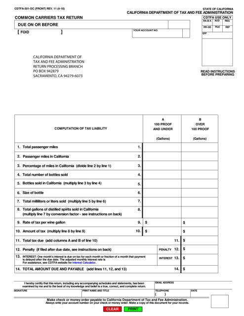 Form CDTFA-501-DC  Printable Pdf