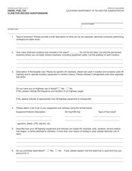 "Form CDTFA-32 ""Diesel Fuel Tax Claim for Refund Questionnaire"" - California"