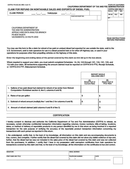 Form CDTFA-770-DZ  Printable Pdf