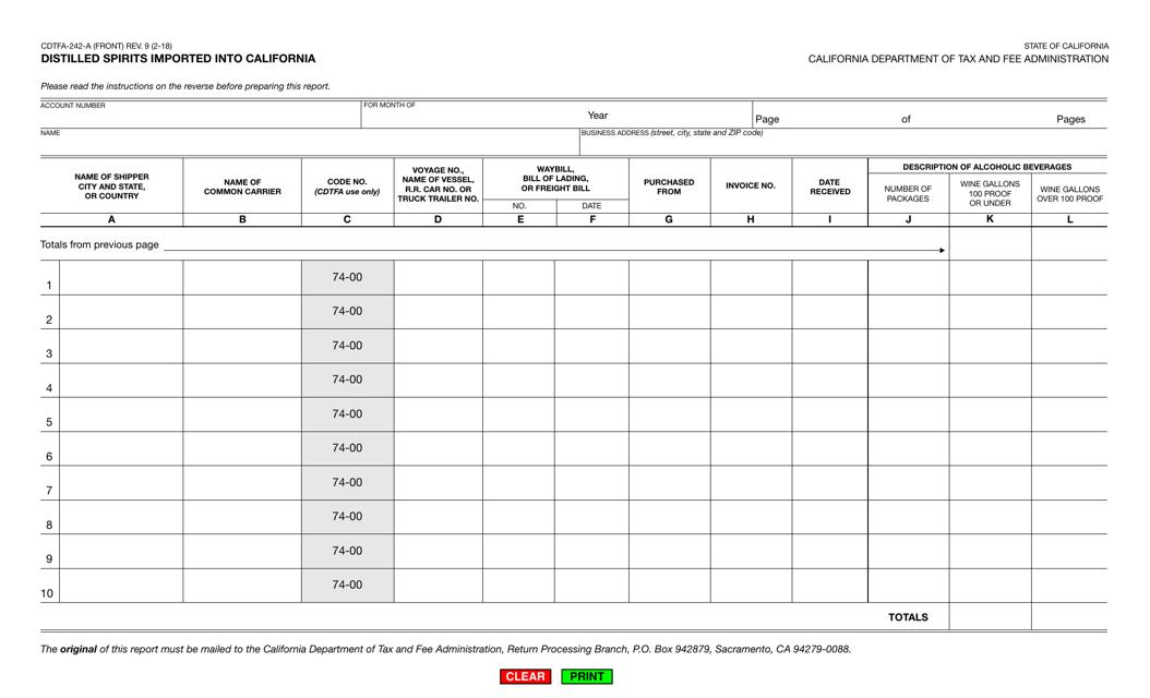 Form CDTFA-242-A  Printable Pdf