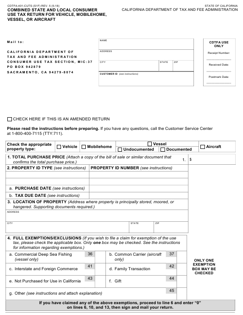Form CDTFA-401-CUTS  Printable Pdf