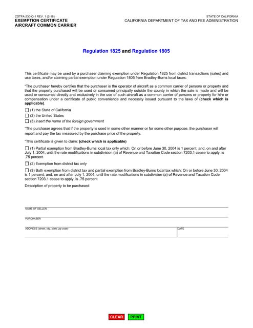 Form CDTFA-230-Q-1  Printable Pdf