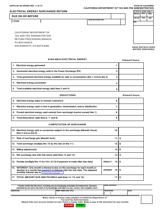 Form CDTFA-501-EU  Printable Pdf
