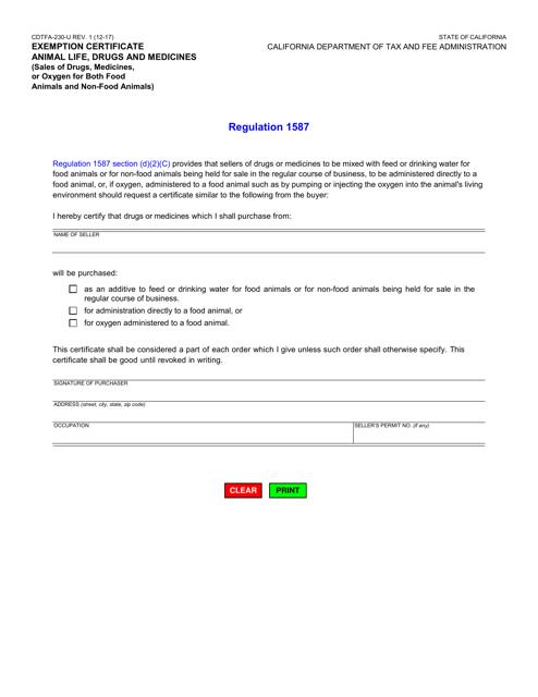 Form CDTFA-230-U  Printable Pdf
