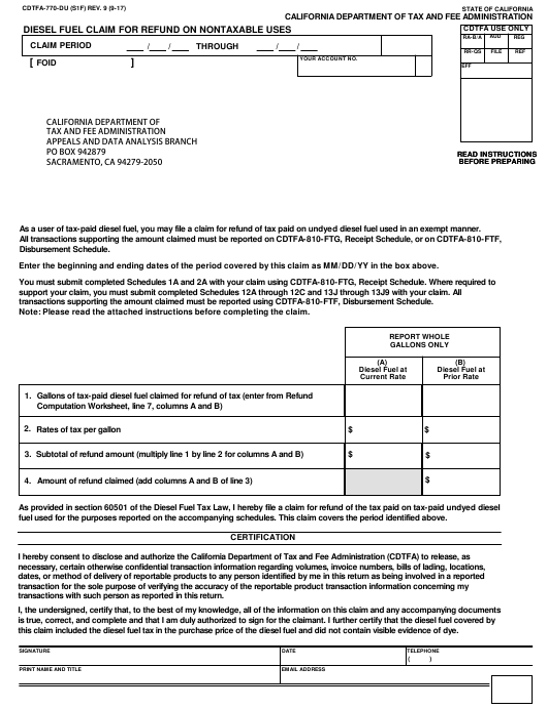 Form CDTFA-770-DU  Printable Pdf