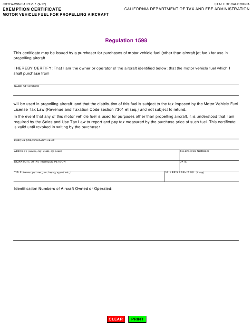 Form CDTFA-230-B-1  Printable Pdf