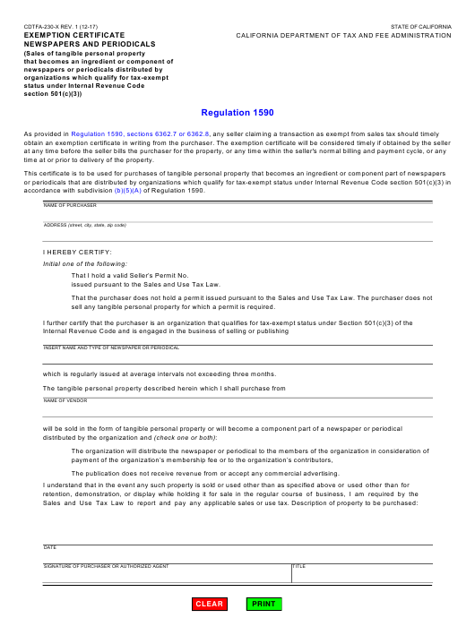 Form CDTFA-230-X  Printable Pdf