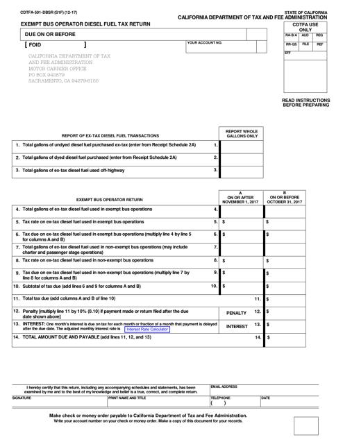 Form CDTFA-501-DBSR  Printable Pdf