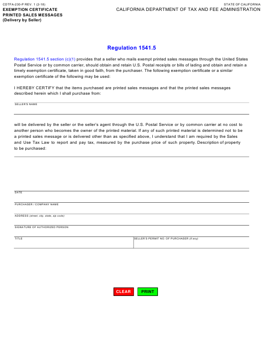 Form CDTFA-230-P  Printable Pdf