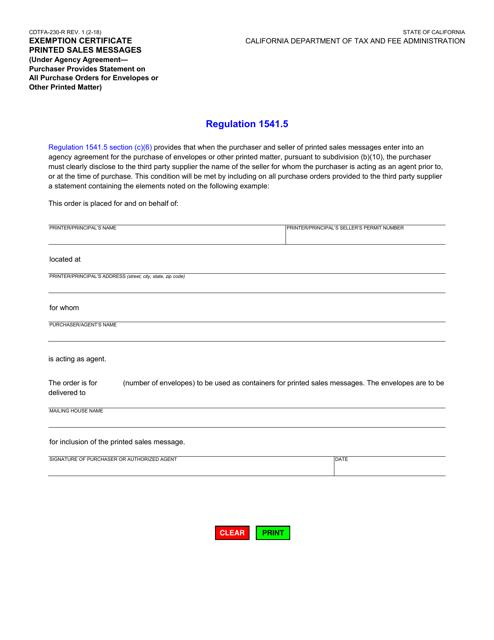 Form CDTFA-230-R  Printable Pdf