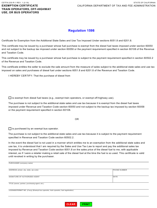 Form CDTFA-230-R-1  Printable Pdf