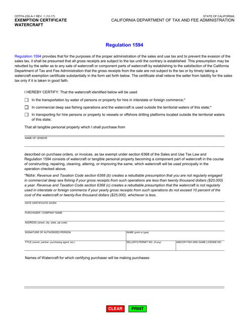 Form CDTFA-230-A-1  Printable Pdf